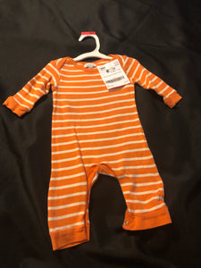 QUILTEX orange/white striped LS romper, size 3-6m
