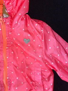 Carter's pink light weight jacket w/ white polkadots 12m