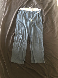 LUCKY BRAND.  Cotton Pants.  Blue with Gray Band.  Drawstring.  Back Pockets.  Size L (12-14)