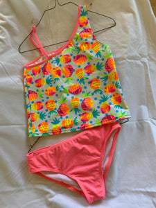 OP 2pc Neon Pink/Pineapple Bathing Suit, Size 7/8