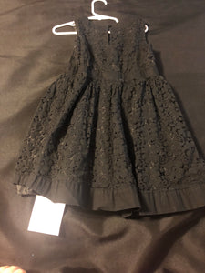 GENUINE KIDS Black Lace dress w/ pink bow, size 5T