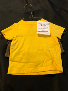 2 pc. Boys CARTER'S outfit, Yellow SS tee, brown cargo shorts, size 3m