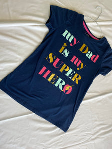 "WONDER NATION Dark Blue T-Shirt ""My Dad is my Super Hero"" Size 10-12"