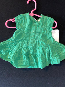 First impressions green dress with matching pantaloons;3-6m.