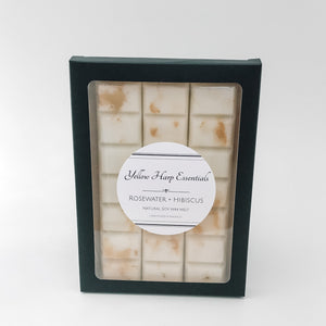 100% natural soy wax melt snap bar highly scented rosewater and hibiscus white wax gold shimmer black box