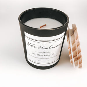 Mediterranean fig green leaves floral fresh light candle coconut wax crackling wood wick matte black glass jar wood lid resuable