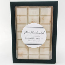Load image into Gallery viewer, 100% natural soy wax melt snap bar highly scented cashmere vanilla white wax gold shimmer black box