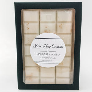100% natural soy wax melt snap bar highly scented cashmere vanilla white wax gold shimmer black box