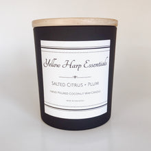Load image into Gallery viewer, salted citrus and plum fresh fruity sexy masculine ocean airy sea salt woodwick coconut wax black white home decor candle
