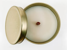 Load image into Gallery viewer, 5.5 ounce reusable gold tin with lid wood tube wick coconut wax sugared lemongrass clean burning eco luxury candle