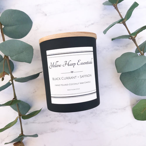 black currant saffron highly scented sexy warm fruity wood wick crackle candle luxury fragrance home decor coconut wax phthalate free