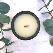 Load image into Gallery viewer, sugared lemongrass citrus sweet spa zen coconut wax wood wick matte black glass jar natural wood lid reusable candle