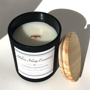 sugared lemongrass citrus sweet spa zen coconut wax wood wick matte black glass jar natural wood lid reusable candle