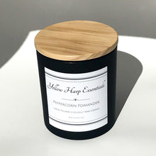 Load image into Gallery viewer, peppercorn pomander spiced orange warm spicy fruit fragrance scent candle coconut wax wood wick matte black jar wood lid reusable