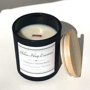 powder tonka bean oud wood masculine modern complex fragrance coconut wax wood wick candle matte black jar wood lid reusable