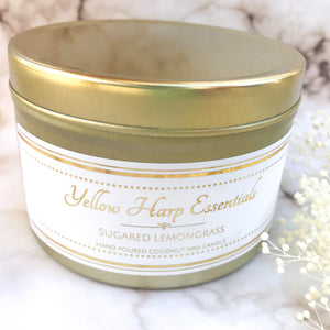 5.5 ounce reusable gold tin with lid wood tube wick coconut wax sugared lemongrass clean burning eco luxury candle