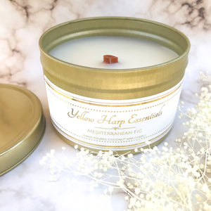 5.5 ounce reusable gold tin with lid wood tube wick coconut wax Mediterranean fig clean burning eco luxury candle