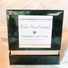 Load image into Gallery viewer, black gold ring box for valentine gift candle dark rose and labdanum