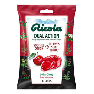RICOLA COUGH DROP,CHERY,DUAL ACT 19CT