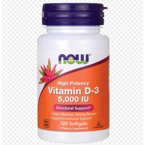NOW VITAMIN D-3, 5000 IU 120 SOFTGELS