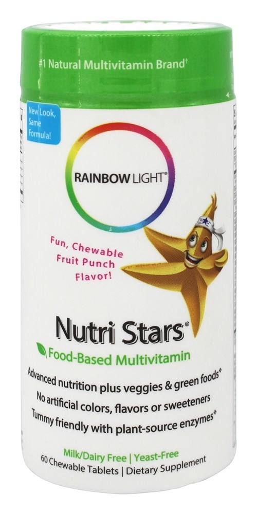 RAINBOW LIGHT NUTRI STARS,CHILDREN MULTI CHEWABLE FRUIT 60 TABLETS