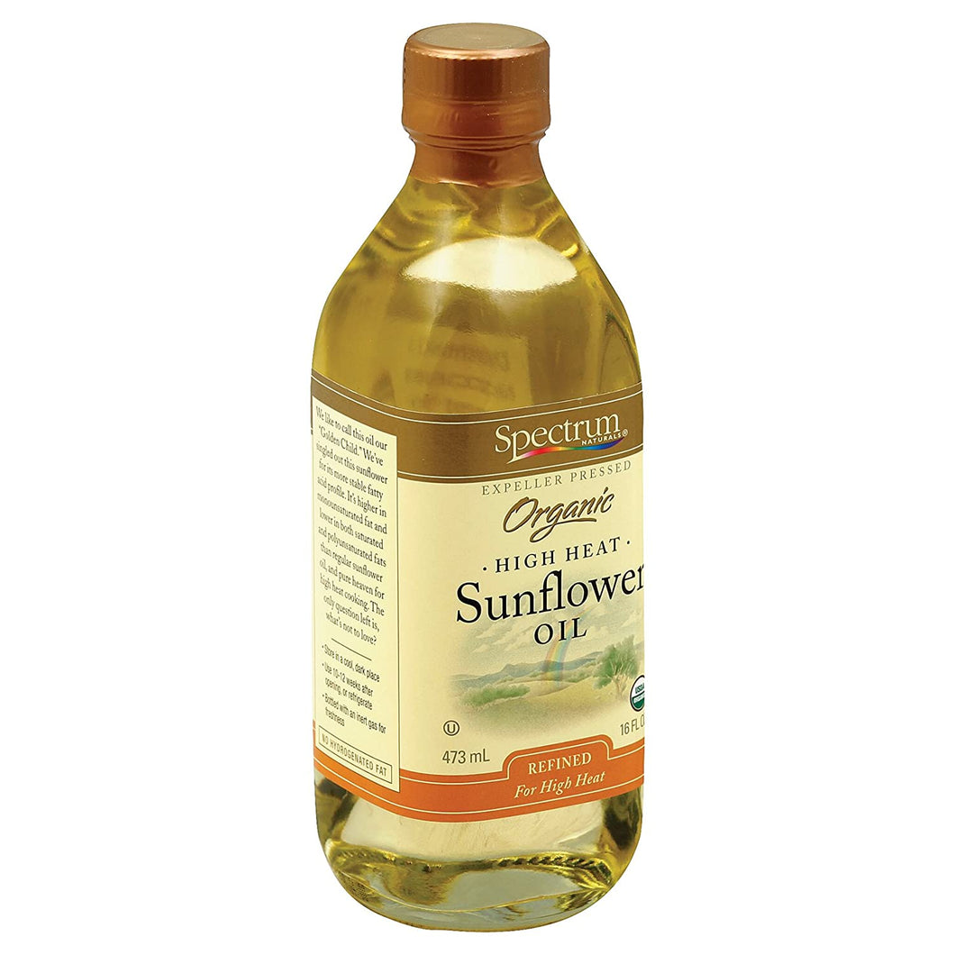 SPECTRUM ORGANIC SUNFLOWER REFINED OIL, 16 FZ