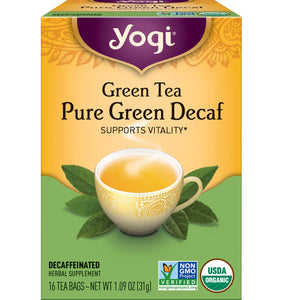 YOGI, ORGANIC PURE GREEN DECAF, 16 TEA BAGS