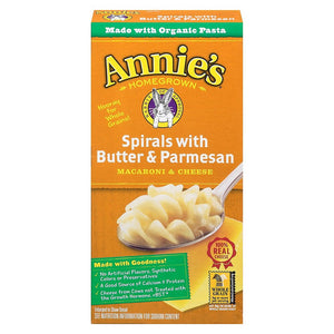 ANNIE'S HOMEGROWN SPIRALS WITH BUTTER AND PARMESAN 5.25 OZ
