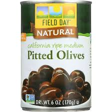 FIELD DAY CALIFORNIA RIPE PITTED OLIVES, 6 OZ
