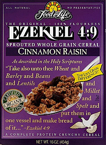 Food For Life Ezekiel 4:9 Organic Sprouted Grain Cereal, Cinnamon Raisin 16 oz