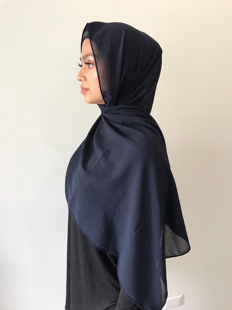 Navy Chiffon Shawl - Phyre Wear Clothing Fashion Modest Sydney Australia Hijab