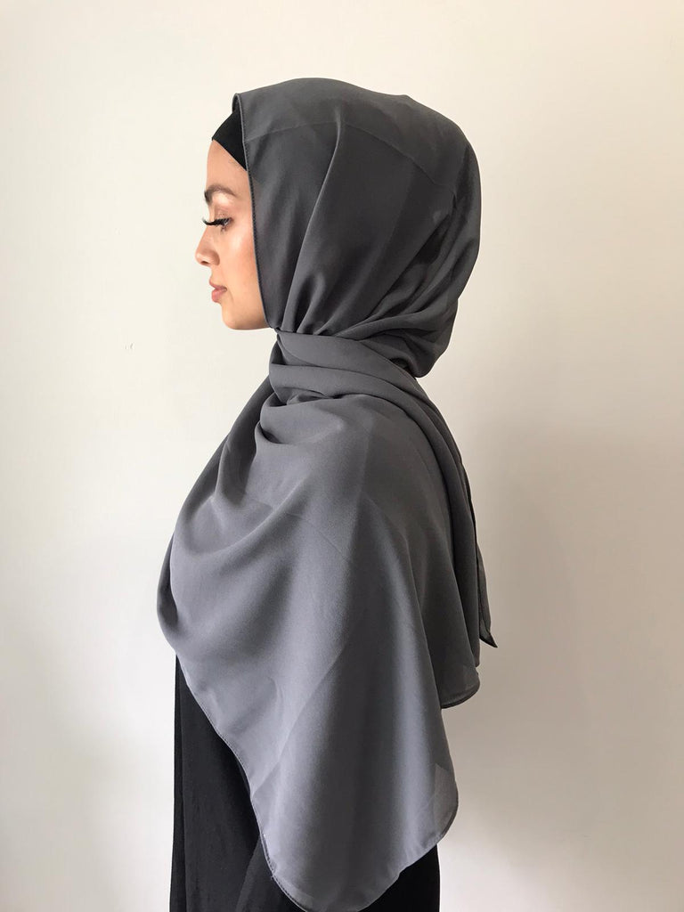Dark Charcoal Chiffon Shawl - Phyre Wear Clothing Fashion Modest Sydney Australia Hijab