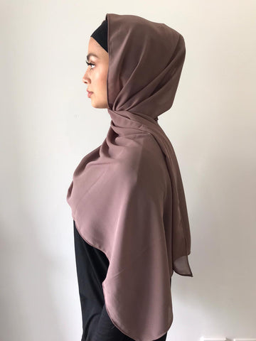 Dark Mocha Chiffon Shawl - Phyre Wear Clothing Fashion Modest Sydney Australia Hijab