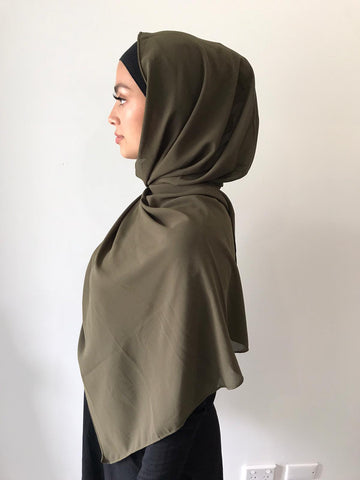 Dark Khaki Chiffon Shawl - Phyre Wear Clothing Fashion Modest Sydney Australia Hijab