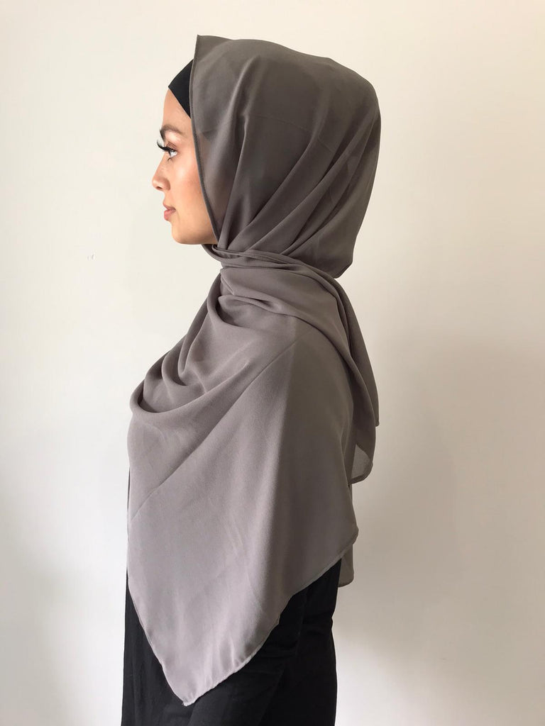 Light Charcoal Chiffon Shawl - Phyre Wear Clothing Fashion Modest Sydney Australia Hijab