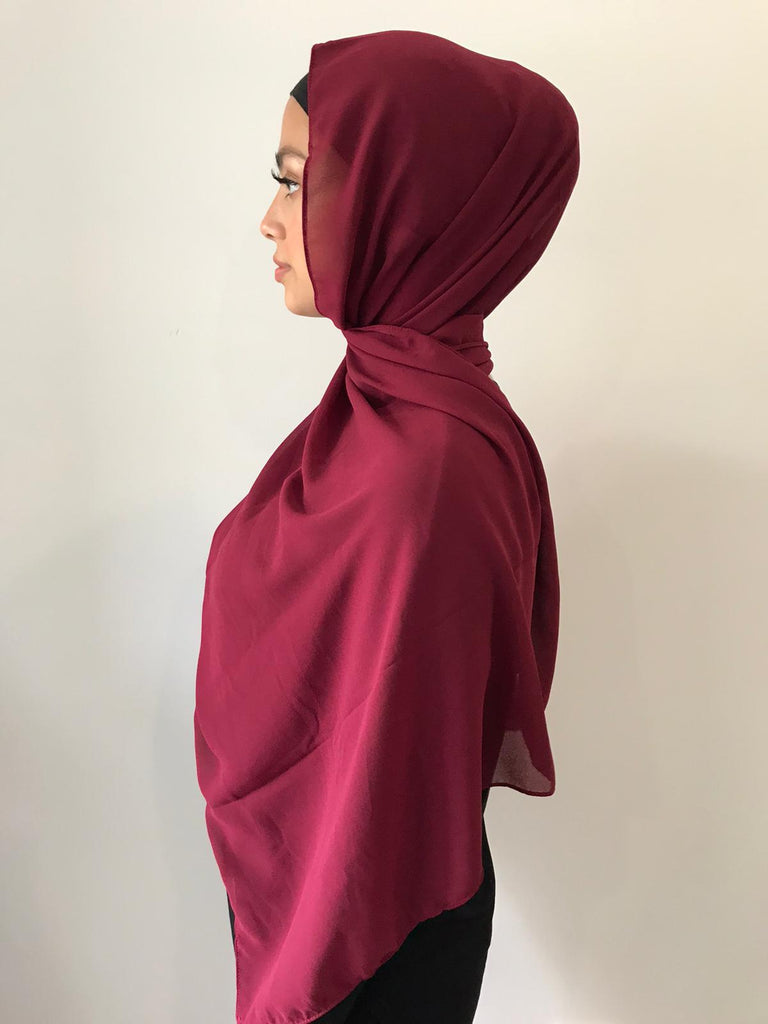 Maroon Chiffon Shawl - Phyre Wear Clothing Fashion Modest Sydney Australia Hijab