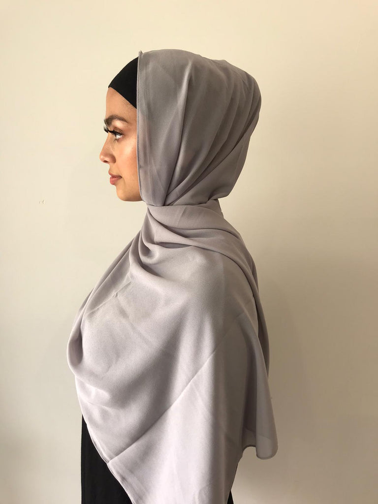Light Grey Chiffon Shawl - Phyre Wear Clothing Fashion Modest Sydney Australia Hijab