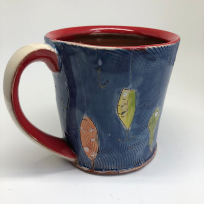 Blue Mug with Fishing Lures #1026
