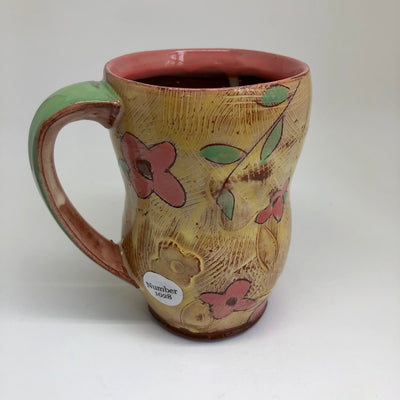 Tall Yellow Mug with Pink Flowers #1028