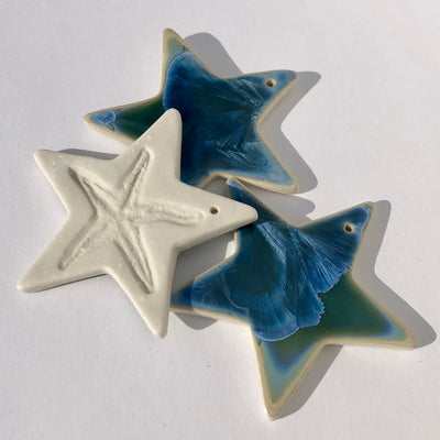 Collection of Three Stars with Sea Star Impression #i057