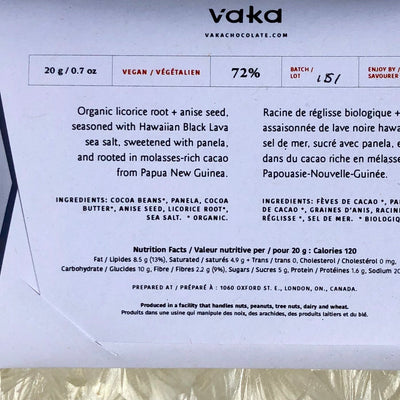 Vaka Chocolate Licorice & Black Lava Sea Salt