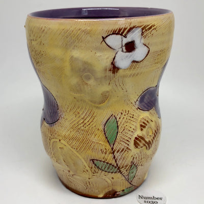 Tall Yellow Tumbler with Purple Flowers #1030