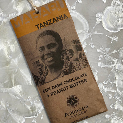 Askinosie Tanzania Mababu 60 % Dark Chocolate with Peanut Butter