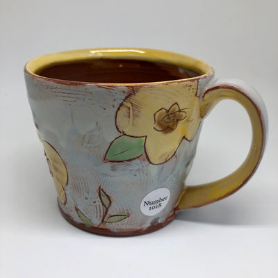 Soft Blue Mug with Yellow Flowers #1018