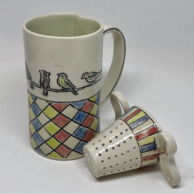 Bird on a Wire Cup and Tea Strainer #b135