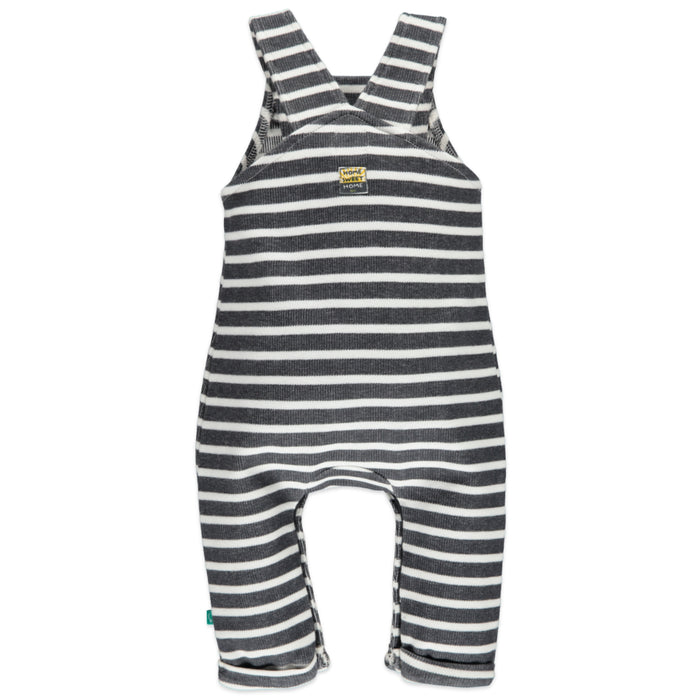 Baby Boy Striped Coverall - Dark Grey