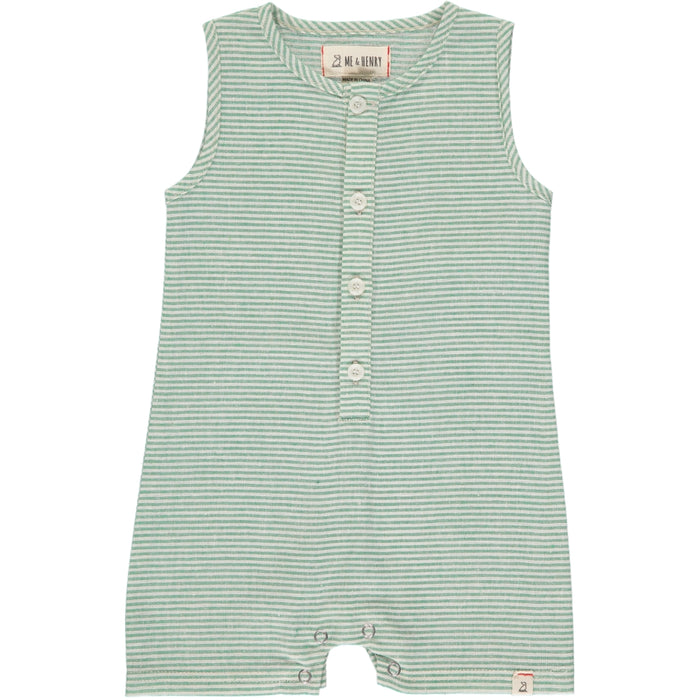 Sandy Playsuit | Green and Cream Stripe