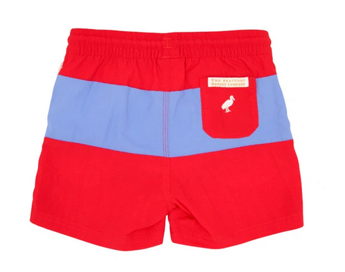 Country Club Colorblock Trunks in Richmond Red and Barbados Blue with Worth Avenue White Stork