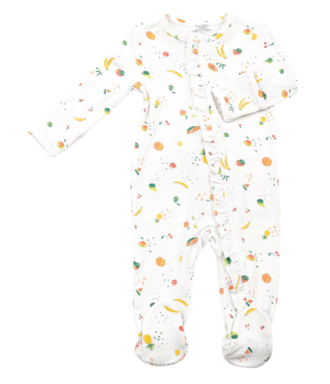 Ditsy Fruit Ruffle Zipper Footie