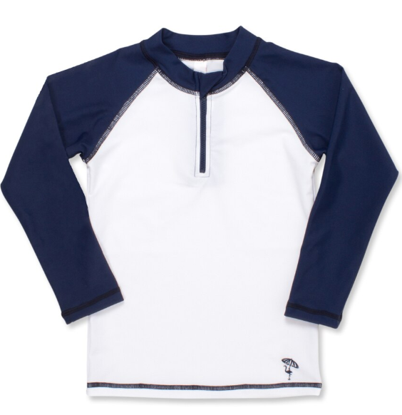 Navy & White Long Sleeve Rashguard